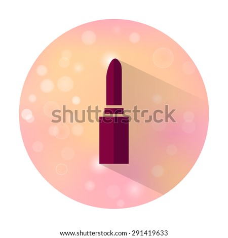 Vector stylish flat icon with long shadow effect of beauty and cosmetic on blurred background. Lipstick. - stock vector