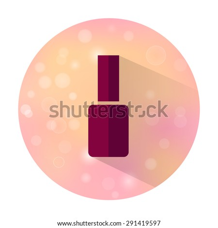 Vector stylish flat icon with long shadow effect of beauty and cosmetic on blurred background. Nail polish. - stock vector