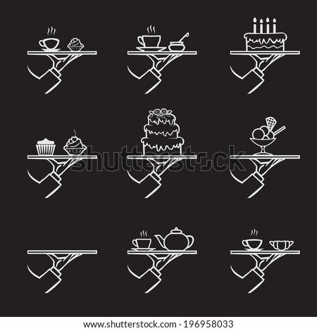 vector stylish hand drawn waiter with a tray, dessert icon set isolated on black  background - stock vector