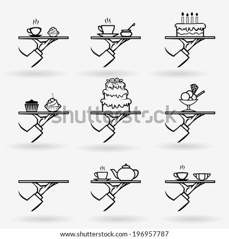 vector stylish hand drawn waiter with a tray, dessert icon set isolated on white background - stock vector