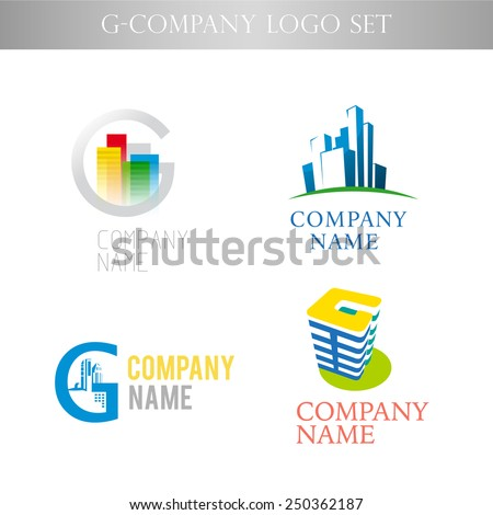 Vector stylish logo collection for urban building office company isolated on white background. Business successful company insignia template.  - stock vector