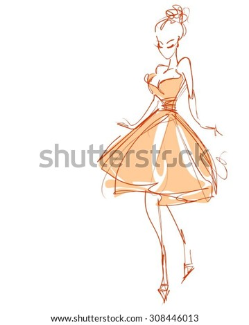 VECTOR  stylish  original hand-drawn graphics with beautiful young   girl model for design. Fashion, style, youth,   beauty,  . Graphic, sketch drawing. Sexy woman.   - stock vector