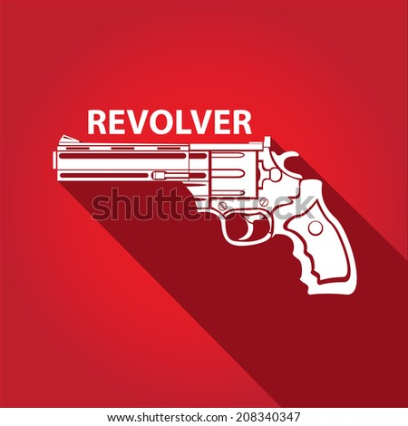 vector stylish white revolver icon on red - stock vector
