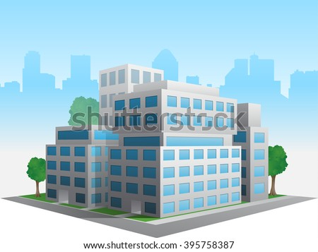 Vector stylized altered generic corporate modern office building - stock vector