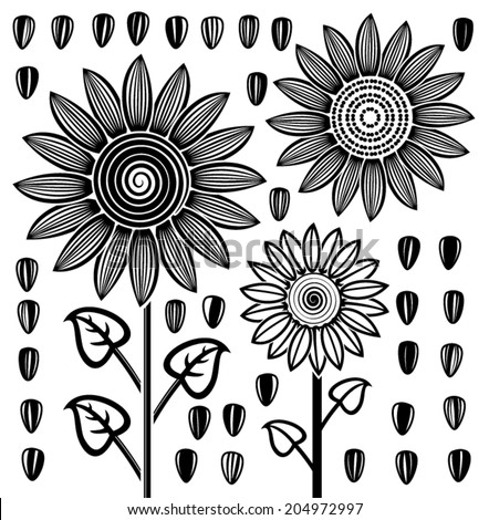 vector stylized black and white drawing of sunflowers and seeds - stock vector