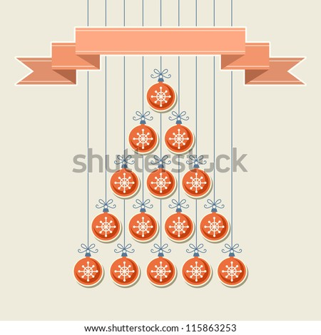 Vector stylized christmas tree made from red balls with snowflakes and banner. Original holiday invitation and greeting card. Vintage winter light background. Abstract drawing decorative illustration - stock vector