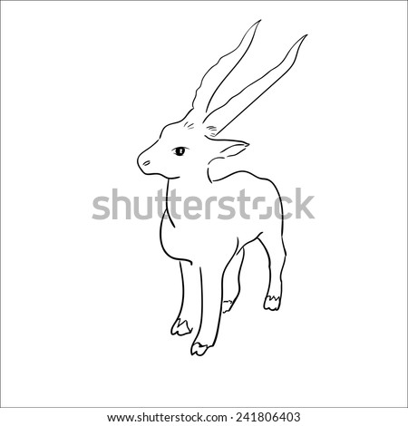 Vector stylized figure of a goat.  Sketch Vector Illustration - stock vector