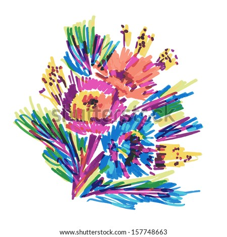 vector  stylized flowers painted marker - stock vector