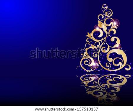 Vector stylized golden Christmas tree  - stock vector