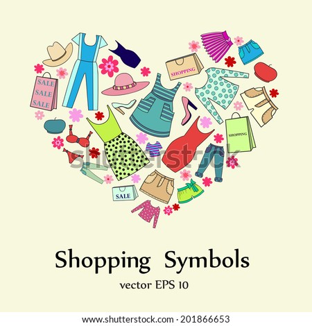 Vector stylized heart with ladies wear. Illustration for use in design - stock vector
