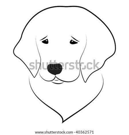 Vector stylized illustration of golden retriever puppy portrait - stock vector