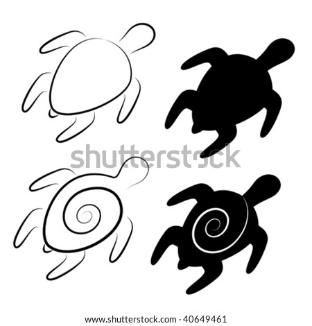 vector stylized illustrations of turtles in black and white - stock vector