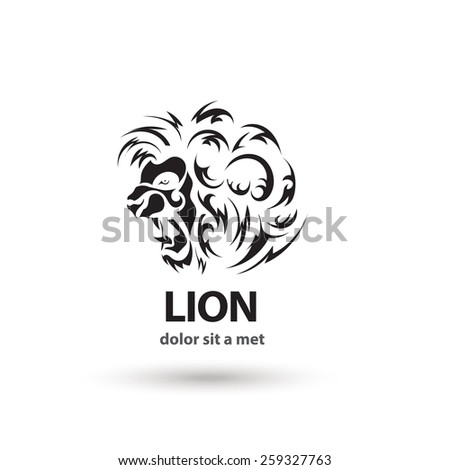 Vector stylized lion icon. Artistic silhouette wild animal. Creative concept. - stock vector