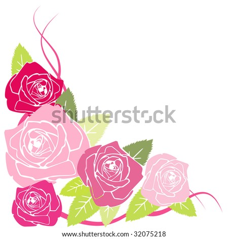 vector stylized red roses - stock vector
