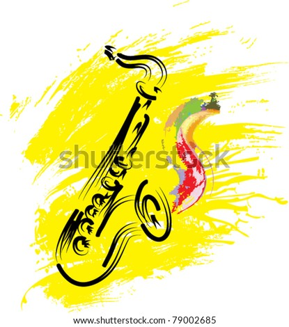 vector stylized saxophone on grunge background - stock vector
