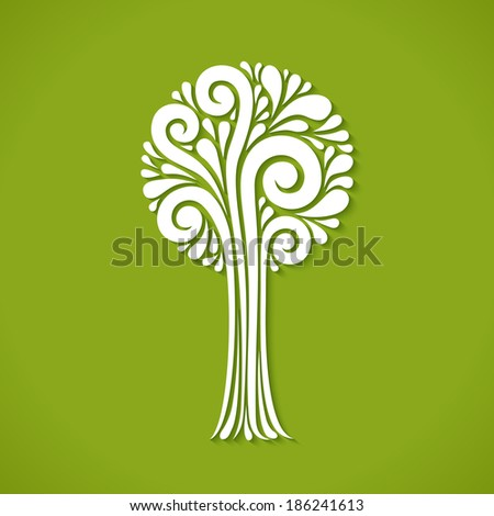 Vector stylized tree. Decorative green card. Concept of art and creation. Illustration for print and web - stock vector