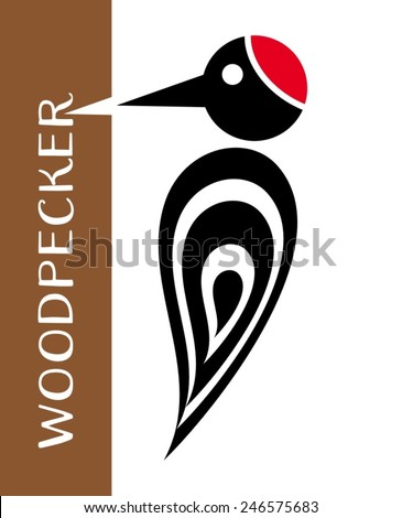 Vector stylized woodpecker icon with tree and lettering - stock vector