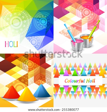 vector styllish set of holi background with colors - stock vector