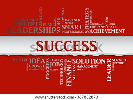 Vector SUCCESS concept related words in tag cloud isolated on red, business concept, internet, trade. The effect of torn paper  - stock vector