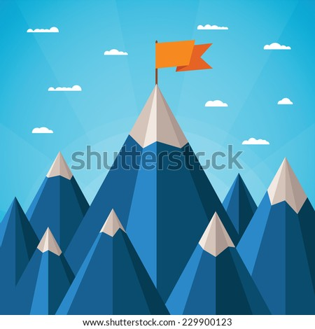 Vector success or leadership concept with mountain landscape  - stock vector