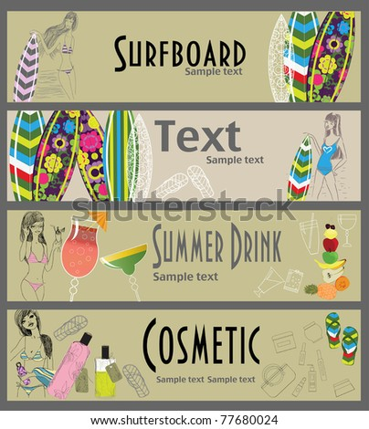 Vector summer banners - stock vector