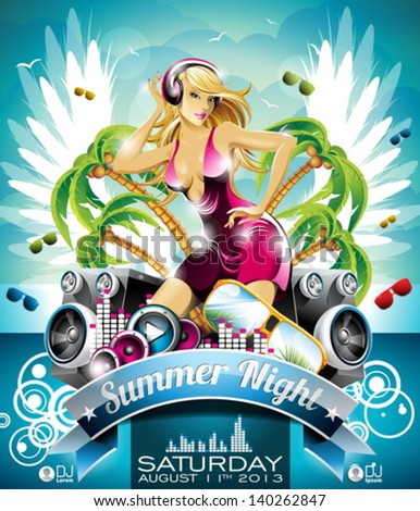 Vector Summer Beach Party Flyer Design with sexy girl and speakers on cloud background. Eps10 illustration. - stock vector