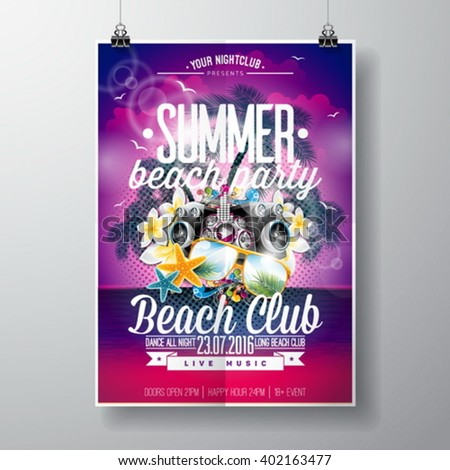 Vector Summer Beach Party Flyer Design with typographic and music elements on ocean landscape background. Eps10 illustration. - stock vector