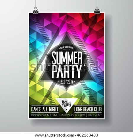 Vector Summer Beach Party Flyer Design with typographic elements and copy space on color triangle background. Eps10 illustration. - stock vector