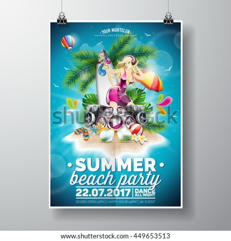Vector Summer Beach Party Flyer Design with typographic elements on blue sky background. Summer nature floral and sexy girl ion paradise island. Eps10 illustration. - stock vector