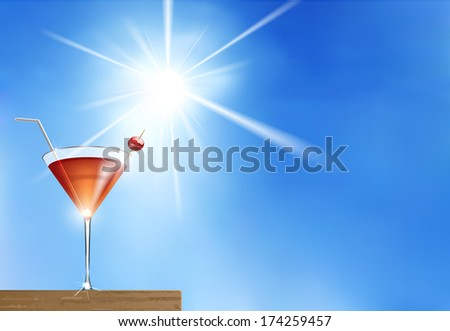 Vector Summer Cocktail on Blue Sunny Background, Eps 10 Vector, Gradient Mesh and Transparency Used, Raster Version Available - stock vector