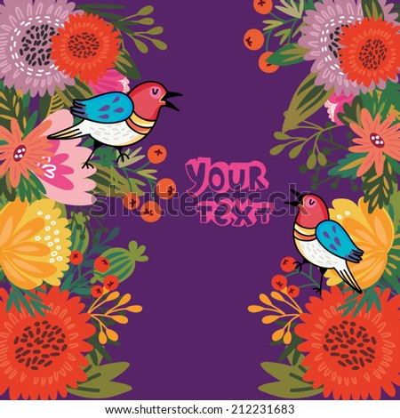 Vector summer concept card in bright colors. Stylish vector background of vintage birds and colorful flowers. - stock vector