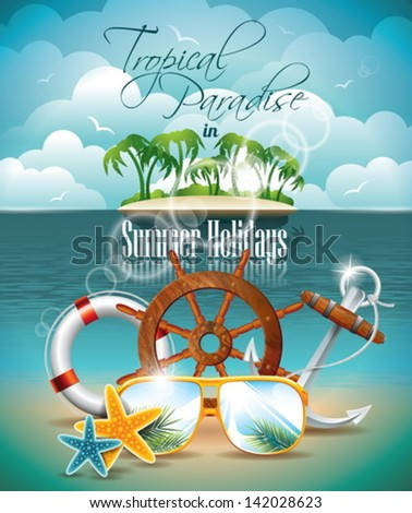 Vector Summer Holiday Flyer Design with palm trees and shipping elements on tropical background. Eps10 illustration. - stock vector