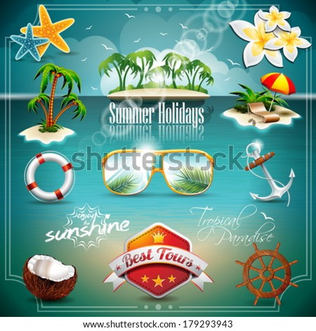 Vector Summer Holiday Icon set on blue sea background. Eps10 illustration. - stock vector