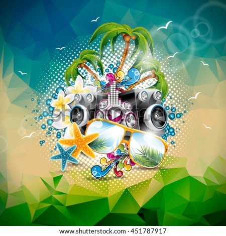 Vector Summer Holiday illustration on a Music and Party theme with speakers and sunglasses on abstract triangle background. Eps10 illustration. - stock vector