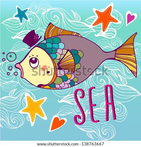 """Vector Summer illustration """"Big fish"""". - stock vector"""