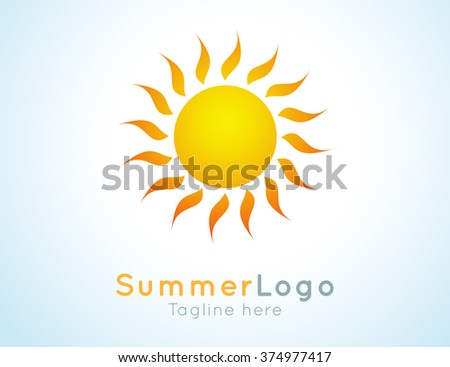 Vector summer label. Summer logo icon. Sunny design element. Background design for banner, poster, flyer, cover, brochure. Sunrise and sunset. Bright nature graphic. - stock vector