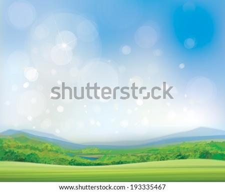 Vector summer landscape,  beautiful, sunny day.  - stock vector