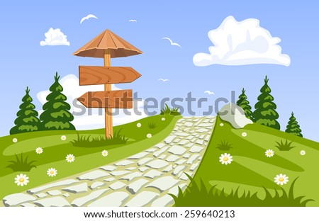 Vector summer landscape with a walkway - stock vector