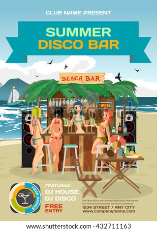 Vector summer party invitation beach disco style. Day beach, bar with sound system, women's hen party in bikinis. Posters, invitations or flyers. Vector template beach summer party poster. - stock vector