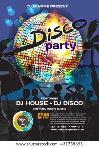 Vector summer party invitation disco style. Night beach, crowd women in bikinis, palm trees, disco ball posters, invitations or flyers. Vector template night summer party poster. - stock vector
