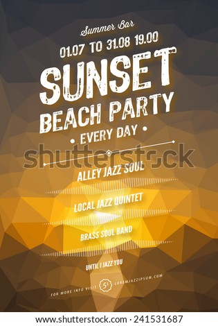 Vector summer party poster template. Polygonal sunset background.  - stock vector
