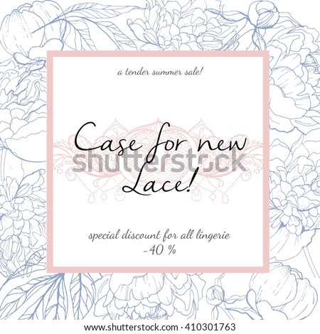 Vector Summer sale banner in trendy Pantone color of 2016 Rose quartz and Serenity. Case for new lace lingerie special discount propose. Floral vintage square frame and piece of guipure. - stock vector