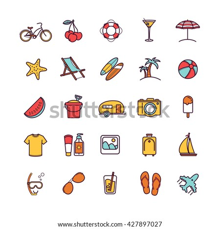Vector summer thin line icons for your design - stock vector