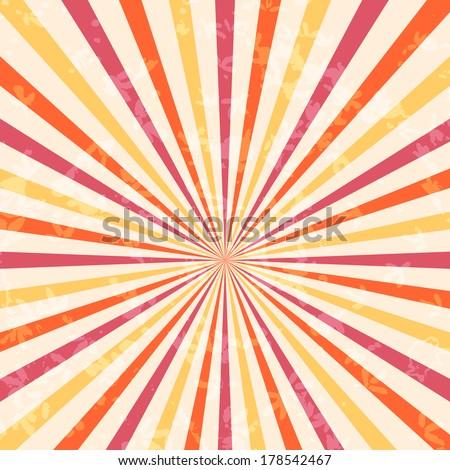 Vector sunburst retro background with grunge effect, eps10 - stock vector