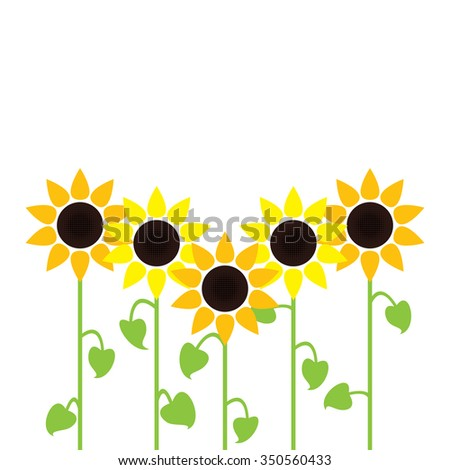 vector sunflower summer background - stock vector