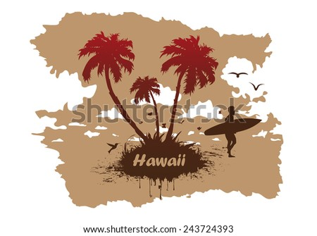 vector Sunny beach with palm surfer in Hawaii - stock vector