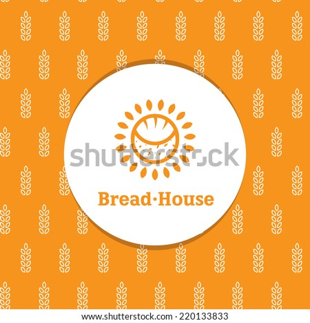 Vector sunny minimalistic bakery logotype with decorative wheat seamless pattern - stock vector