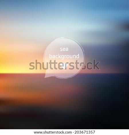 Vector sunset sea ocean and sky blurred defocused landscape, outdoor illustration, backdrop for design - stock vector