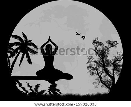 Vector Sunset Yoga background - stock vector