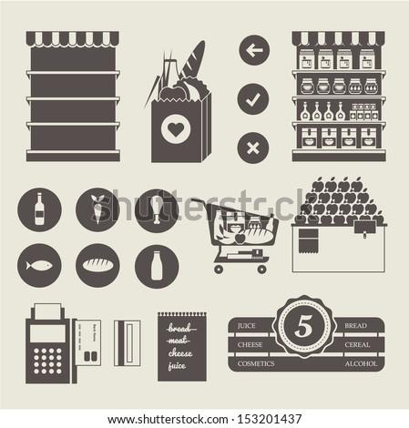 Vector Supermarket icon set - stock vector